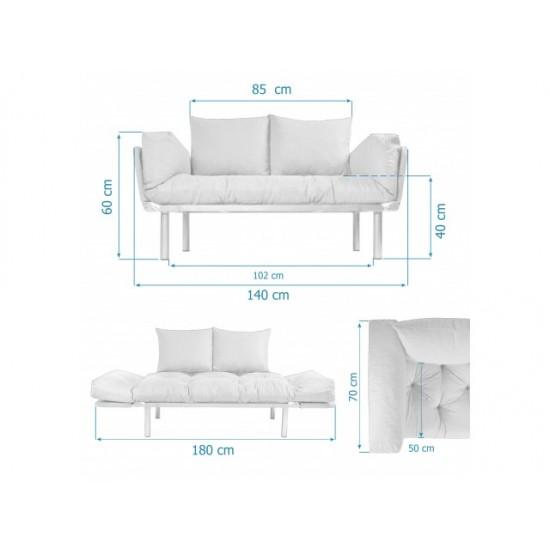 Canapea extensibila 2 locuri Model Combi Rosu-Crem