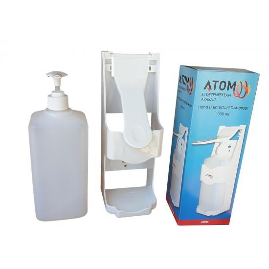 Dispenser, dozator, pentru dezinfectant,1000 ml, cu manual, pentru perete, 26 x 16 x 9 cm