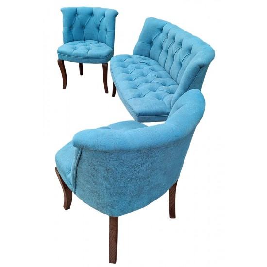 London Times Coffee Set canapea 2 persoane cu 2 fotolii, Turquaz