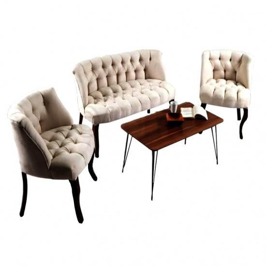 London Times Coffea Set, Crem, Tapitat Textil, 1 Canapea 2 Locuri, 2 Fotolii, Cadru si Picioare Lem